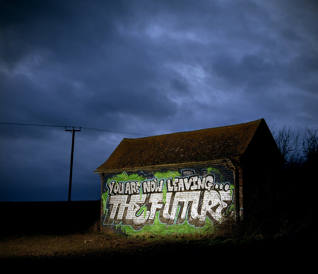 You Are Now Leaving The Future: Graffiti on the A14, Cambridgeshire.