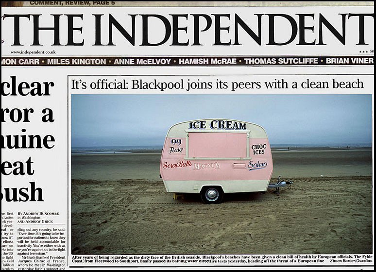 Blackpool Beach. Front cover for the Independent.