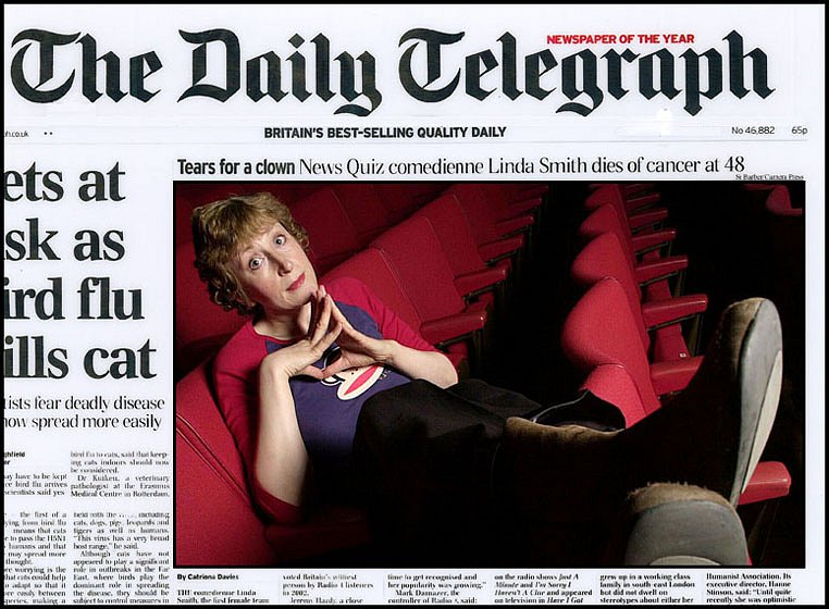 Linda Smith. Front Page For the Daily Telegraph.