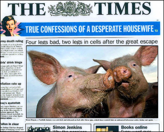 Front Page For The Times.