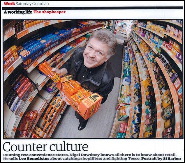 Shopkeeper Nigel Dowdney. For the Guardian.
