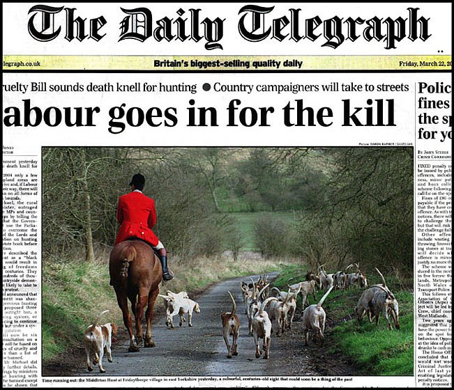 On the hunting ban Front Page, Daily Telegraph.