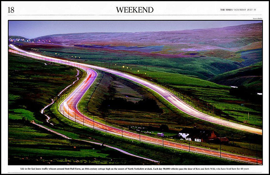 Above the M62 motorway. For the Times.